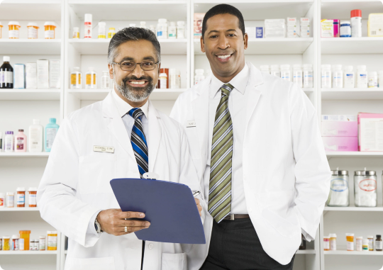 two male pharmacist smiling